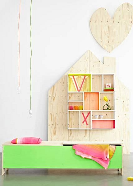 Plywood furniture + neon